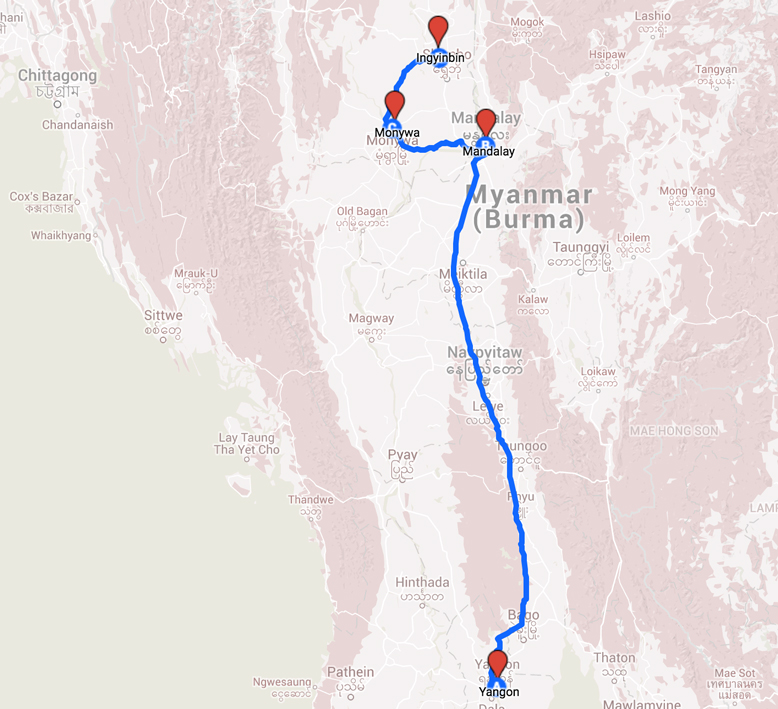 Map of Pilgrimage in Burma