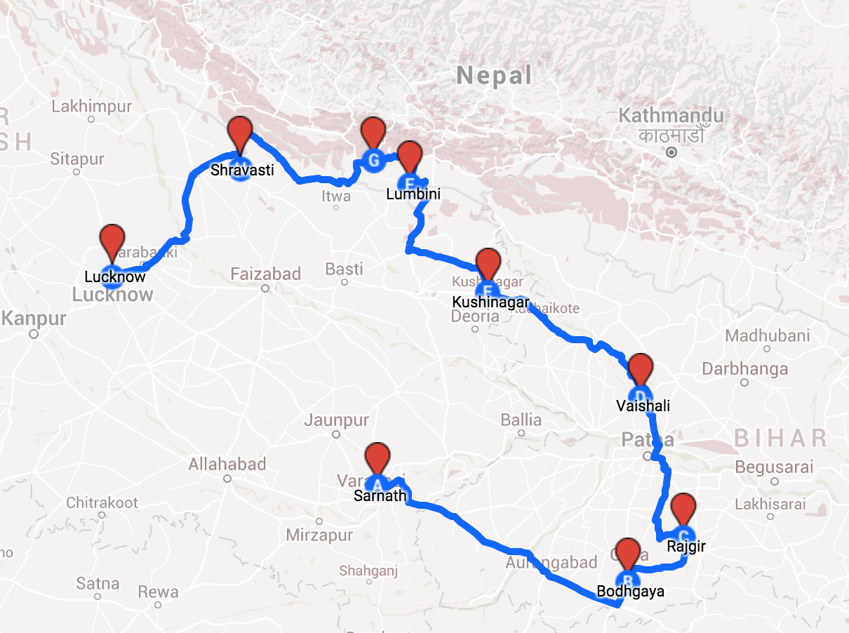Map of Pilgrimage in India and Nepal